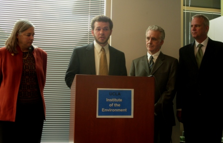 Mike Kantor, Environment California, presents report findings. Other presenters (from left): Senator Fran Pavley, Assemblyman Paul Krekorian, Dr. Glen MacDonald